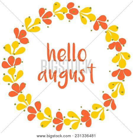 Hello August Vector Wreath Sunny Yellow And Green Card