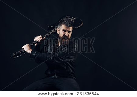 Bearded Man Hipster With Electric Guitar. Angry Man With Beard Hold Musical Instrument. Music, Conce