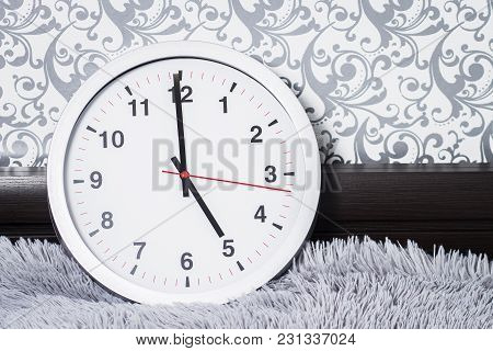 Wall Clock. Round Classic Watches In The Apartments. Time Concept. Clock In The Room. Watch In The M