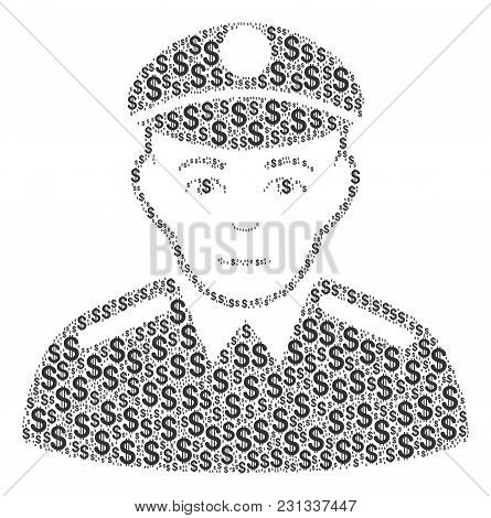 Soldier Mosaic Of Dollar Symbols. Vector Dollar Pictograms Are Combined Into Soldier Illustration.