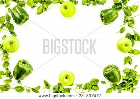 Pepper, Apple, Celeriac. Vegetables For Greeny Organic Smoothy For Sport Diet On Stone Table Backgro