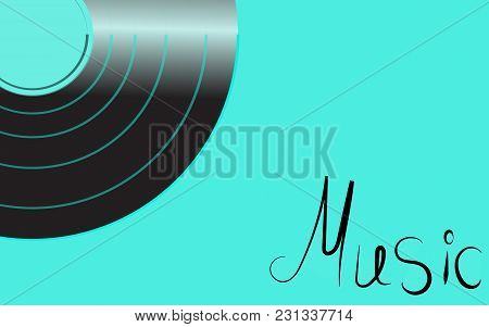 Black Iridescent Vinyl Musical Analogue Retro Old Antique Hipster Vintage Gramophone Record For Gram