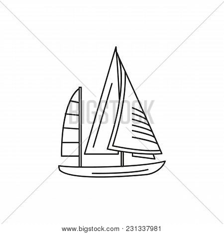 Sailing Boat Icon. Outline Sailing Boat Vector Icon For Web Design Isolated On White Background