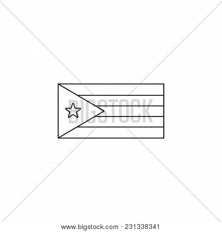 Cuba Flag Icon. Outline Cuba Flag Vector Icon For Web Design Isolated On White Background