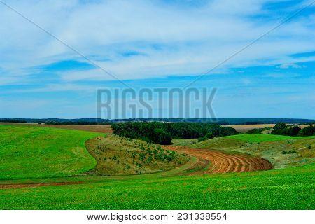 Beautiful Rural Countryside Hiily Landscape In Ukraine