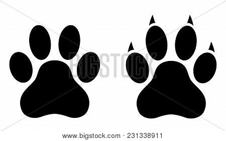 Dog Paw Print Set. Paw Icon. Vector Illustration.