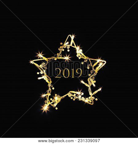 2019 Banner. Symbol Of The New Year Is The Golden Star, With Golden Numbers Of 2018. Black Backgroun