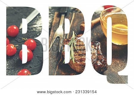 Bbq. Abbreviation Of The Word Barbecue With The Transparency Of The Barbecue Meal. Juicy Steak-barbe