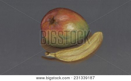 An Art Work Of Two Fruits - A Mango And A Banana. A Picture Was Drawn With Soft Pastel On A Neutral