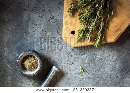 Branch Bunch Fresh Rosemary And Dried Leaves Spice In Mortar Pounder Food Concept Grass Crop Spices
