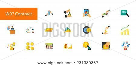 Nineteen Banking Flat Vector Icons Collection On White Background. Can Be Used For Topics Like Busin