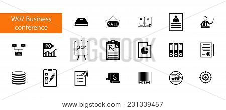 Nineteen Business Conference Flat Vector Icons Collection On White Background. Can Be Used For Topic