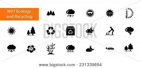 Nineteen Environment Flat Vector Icons Collection On White Background. Can Be Used For Topics Like E