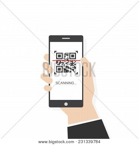 Phone Scanning Qr Code Vector Flat Style Illustration. Human Hand Holding Mobile Smartphone With Qr