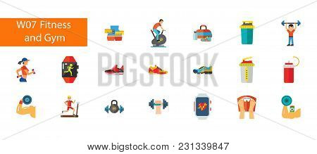 Nineteen Fitness And Gymflat Vector Icons Collection On White Background. Can Be Used For Topics Lik