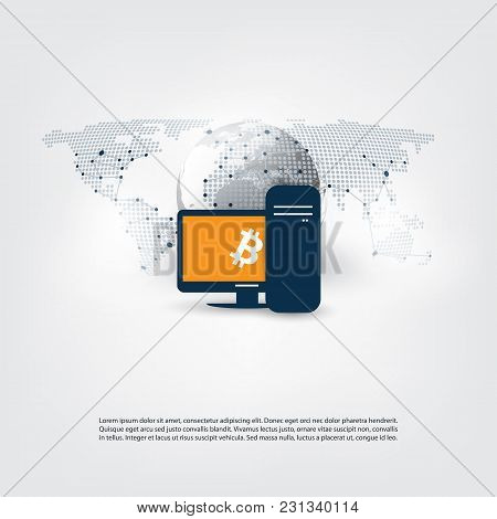 Networks - Business And Global Financial Connections, Cryptocurrency, Bitcoin Trading And Mining, On