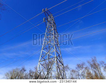 Electricity Pylon Located In Woodland, Hertfordshire, Uk
