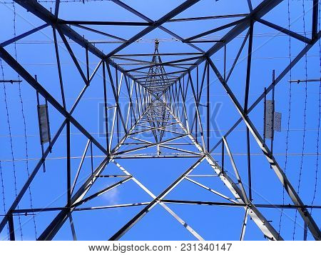 Electricity Pylon Viewed From Underneath, Hertfordshire, Uk