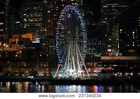 March 7, 2018 In Seattle, Wa:  Seattle Great Wheel Which Is A Large Ferris Wheel On The Seattle, Wa