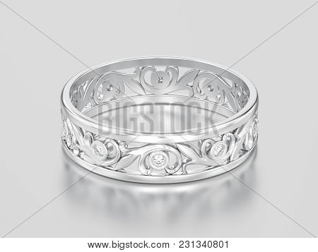 3d Illustration White Gold Or Silver Matching Couples Wedding Diamond Ring Bands On A Gray Backgroun