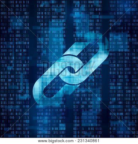 Blockchain Hyperlink Symbol On Binary Code. Abstract Blue Matrix Background. Number Big Data Flow In