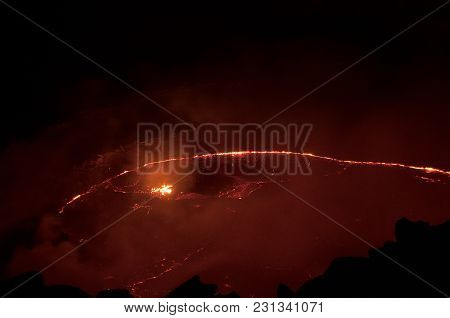 Lava Lake The Volcano Erta-ale, Photographed At Night, Is Located In A Remote Area Of Afar In The No