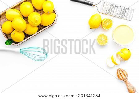 Homemade Lemon Curd Cooking On White Table Background Top View Mock Up