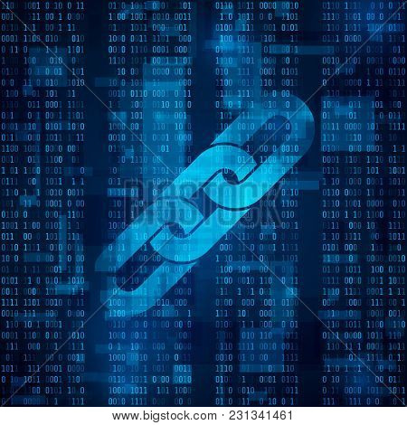 Blockchain Hyperlink Symbol On Binary Code. Abstract Blue Matrix Background. Number Big Data Flow In
