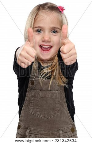 Girl Little Child Kid Smiling Young Success Thumbs Up Isolated On White