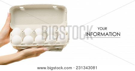 Eggs In A Box In Hand Pattern On A White Background Isolation