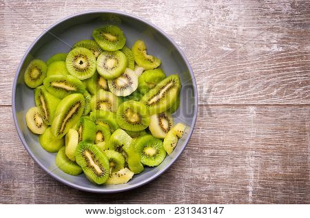 Fresh Kiwi Fruit, Close-up Green Color. Ioslated