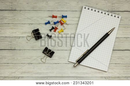 Top View Office Table Calculator With Pen On The Table For Business