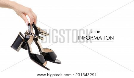 Black Female Shoes Sandals In Hand Pattern On A White Background Isolation