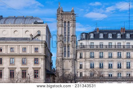 Tour Saint Jacques, Located In The Center Of Paris And Seen From The Quays Of The Seine.