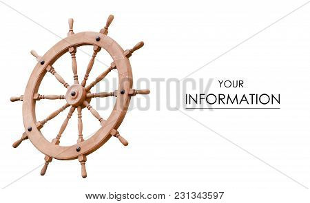 Wooden Steering Wheel Pattern On White Background Isolation