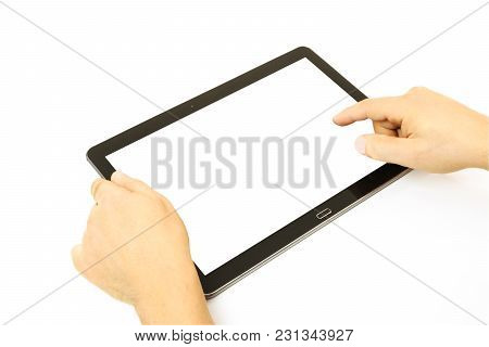 Concept Of Working On A Blank Digital Tablet Isolated On A White Background