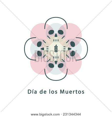 Skulls. Sign, Symbol, Logo, Icon. A Flower From Circles And A Skeleton. Design Element. Halloween, D