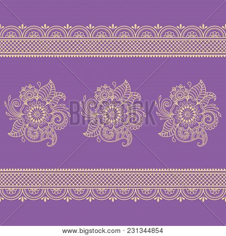 Henna Tattoo Flower Template And Seamless Border. Mehndi Style. Set Of Ornamental Patterns In The Or