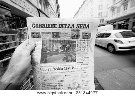 Paris, France - Mar 15, 2018: Italian Corriere Della Sera Newspaper With Portrait Of Stephen Hawking