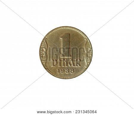 Reverse Of 1 Dinar Coin Made By Yugoslavia In 1938