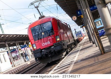 Fuerth / Germany - March 11, 2018: Freight Train From Oebb Austrian Federal Railways, Passes Train S