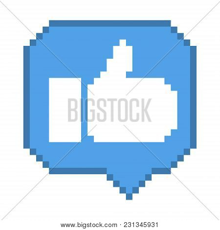 Vector Pixel 8 Bit Blue Bubble With White Thumb Up Sign. Social Networks Notification Icon.