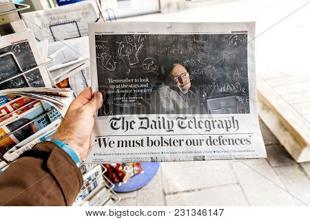 Paris, France - Mar 15, 2018: International Newspaper The Daily Telegrph With Portrait Of Stephen Ha