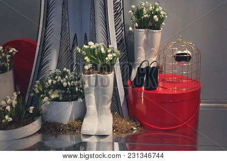 Luxurious Decoration Of The Shop Window Of The Shoe Store. City