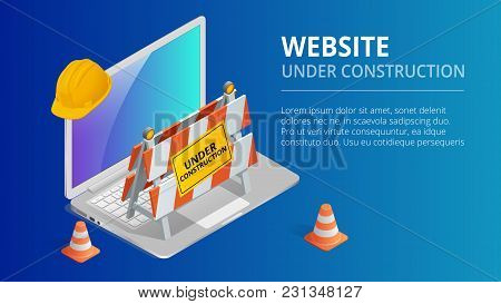 Website Under Construction Page Background Vector Illustration. Flat Isometric Style Vector Illustra