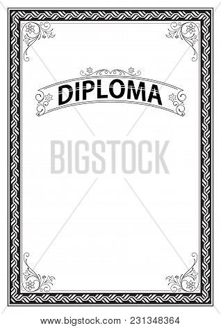 Ornate Rectangular Black And White Framework And Banner. Template For Certificate, Diploma, Announce