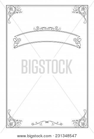 Ornate Rectangular Black Framework And Banner. For Certificate, Diploma, Announcement, Label. A4 Pro