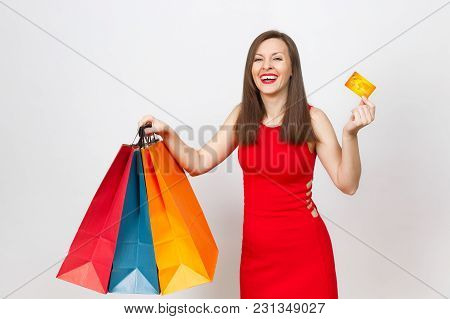 Attractive Glamour Fashionable Young Brown-hair Woman In Red Dress Holding Credit Card, Multi Colore