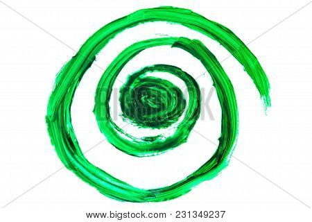 Abstract Deep Green Swirls, Mixed Paint Colors