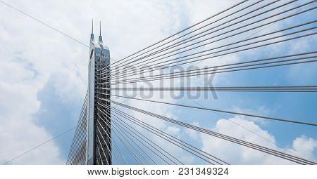 Pylon Of The Haiyin Bridge On Blue Sky Background, Guangzhou, China 2017.